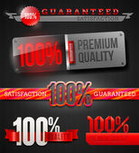 Vector set - signs and emblems of 100% high quality labels — Vettoriale Stock