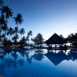 Amazing sunrise at swimming pool wit palms background — Foto Stock