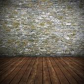 Empty interior with stone wall — Stock Photo