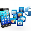 smartphone with cloud of application icons — Stock Photo #11530313