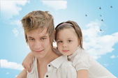Girl with brother — Stock Photo