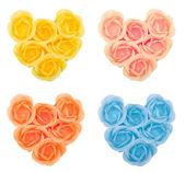 Kolekce srdce z květin mýdla — Stock fotografie