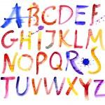 Alphabet. Watercolor — Stock Vector