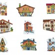 Vintage facades - set - cartoon - Stock Vector