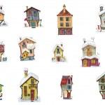 Vintage facades - set - cartoon — Stock Vector