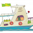 Fish-boat - cartoon - caricature — Imagen vectorial