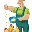 Farmer feeding chickens - Stock Vector