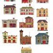 Set of vintage fire stations - cartoon - Stock Vector