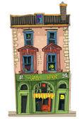 Old cafe facades - cartoon — Stock Vector