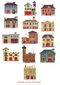 Set of vintage fire stations - cartoon — Stock Vector