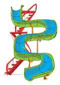Water park - slide - cartoon — Stock Vector
