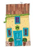 Vintage facade - cartoon — Stock Vector