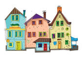 Old city facades — Stock Vector