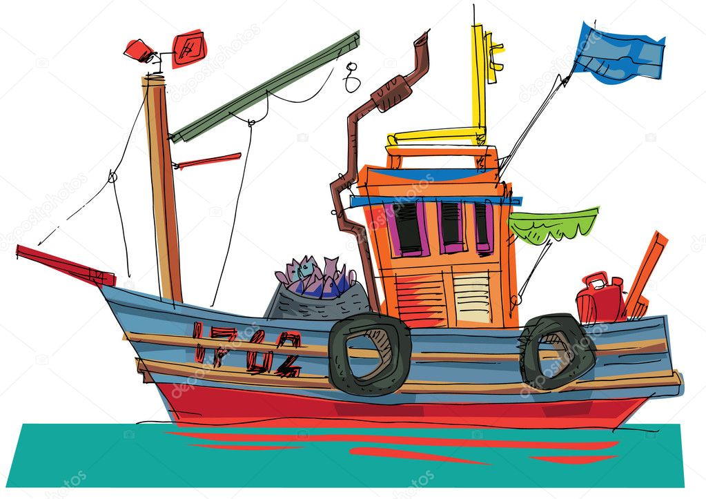 Fishing Boat Cartoon Fish-boat - cartoon