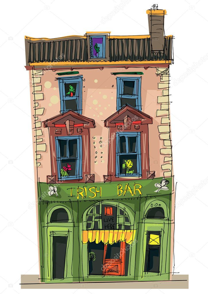 Cartoon Cafe Old Cafe Facades Cartoon
