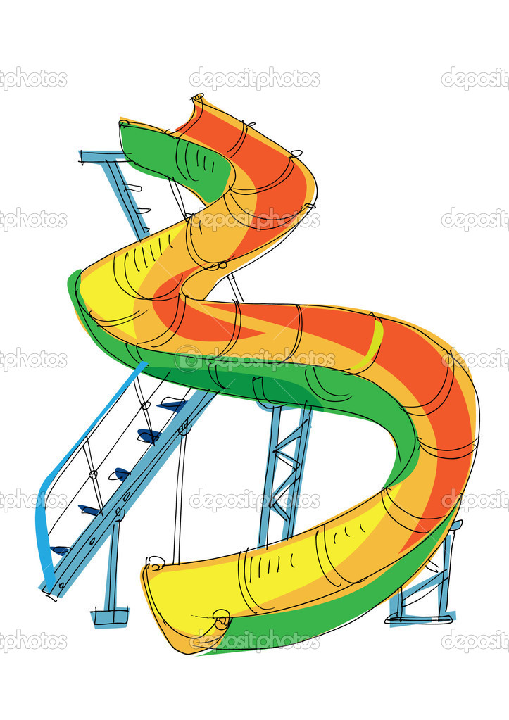Water park - slide - cartoon — Stock Vector © iralu1 #11289673