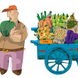 Vendor near cart full of vegetables and fruits - Stock Vector