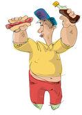 Hot-dog eater - joke - cartoon — Stock Vector