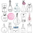 The bottles of perfume on a white background. — Stock Vector