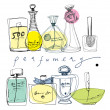 The bottles of perfume on a white background. - Stock Vector