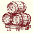 Wine beer barrels - Stock Vector