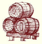 Wine beer barrels — Stock Vector