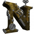 Stock Photo: Steampunk letter n