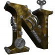 Steampunk letter n — Stock Photo