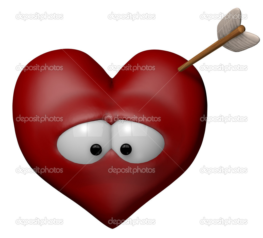 Cartoon heart with arrow - 3d illustration  Stock Photo #11580733