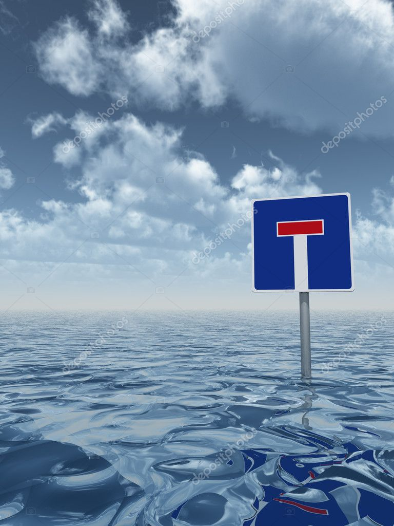 Roadsign dead end at water - 3d illustration — Stock Photo #11833220
