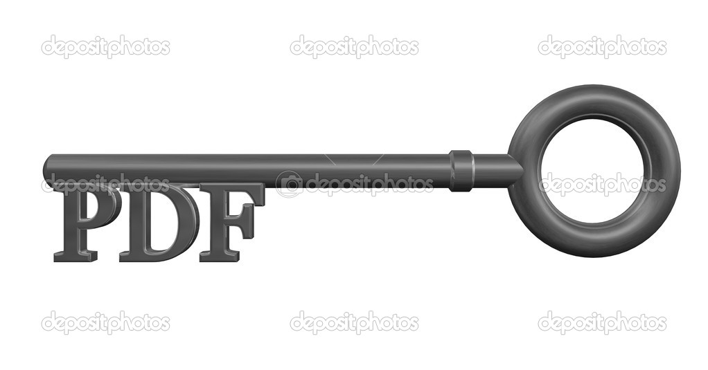 Metal key with pdf tag - 3d illustration — Stock Photo #12172157