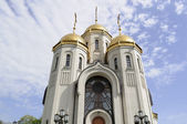 Christian temple with golden domes — Stock Photo