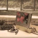 Vintage still life on an old window — Stock Photo