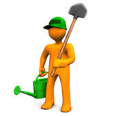 Gardener With Watering Can And Spade — Stock Photo