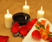 Object for the spa with candle — Stock Photo