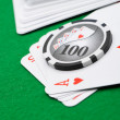 Stock Photo: Gaming chips and cards