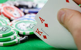 Cards winning combination in Black Jack in hand — Stock Photo