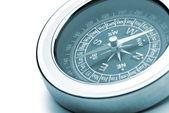 Compass closeup blue toned — Stock Photo
