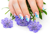 Nail art and flower — Foto de Stock