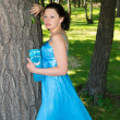 A beautiful woman in a blue dress - Stock Photo