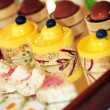 Rows of tasty looking desserts — ストック写真