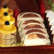 Dessert tray with decorative cakes — ストック写真