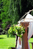 Garden wedding canopy or bower — Stock Photo