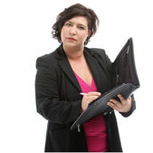 Secretary taking minutes at a meeting — Stock Photo