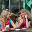 Two ladies chatting over refreshments — Stock Photo #11806061