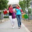 Lady shoppers chatting as they walk — Stock Photo #11806114