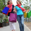 Two friends on a successful shopping trip — Stock Photo