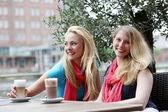 Twee vrouwen unwindng over dranken — Stockfoto