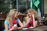 Two ladies chatting over refreshments — Stock Photo