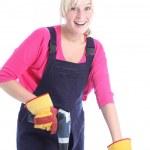 Happy woman doing DIY renovations — Stock Photo #12242458